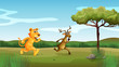 A tiger and a deer running at the forest