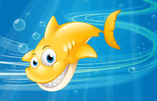 A Smiling Yellow Shark At The Sea