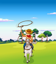 A Cowboy Riding A Horse At The Forest