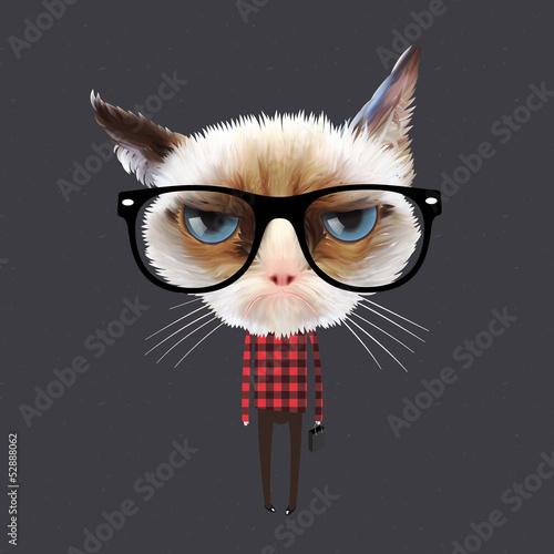 Funny cartoon cat, vector Eps10 illustration.