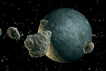 Fototapeta meteory nad planetą