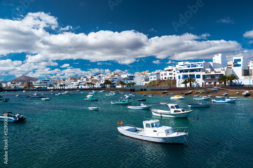 Fisher boats at the laguna Charco de San Gines, Arrecife