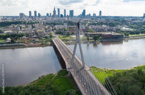 Fototapety, obrazy: Warsaw panorama, Świętokrzyski bridge