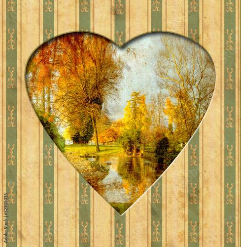 Papiers peints Affiche vintage Vintage Heart - Herbst