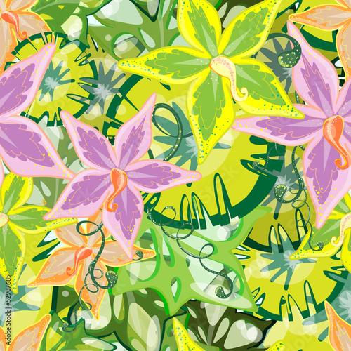 Naklejka dekoracyjna Seamless jungle - an overgrown orchids.