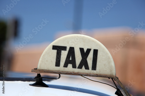 Taxi in the city of Rabat, Morocco