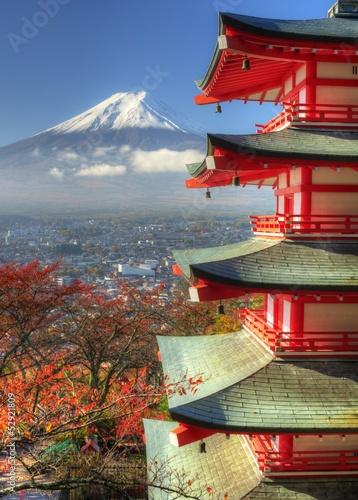 Fototapety, obrazy: Mt. Fuji and Autumn Leaves at Arakura Sengen Shrine in Japan