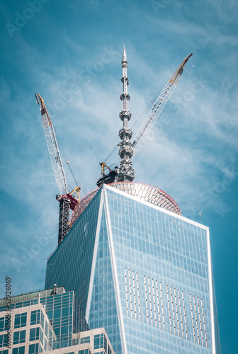 Top of Freedom tower with crane Poster