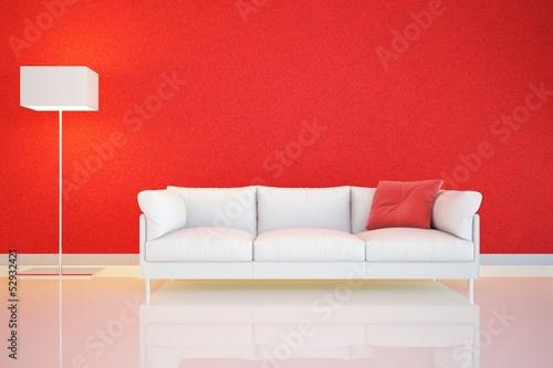 muro rosso e divano Tablou Canvas