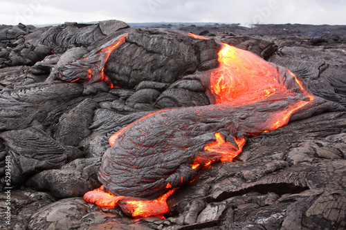 Poster Vulkaan Lava flow in Hawaii