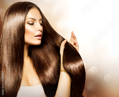 Akustikstoff - Beauty Woman touching her Long and Healthy Brown Hair