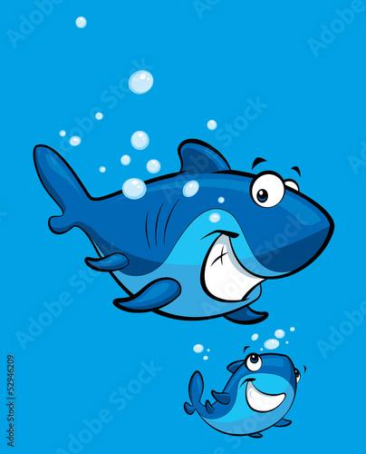 Cartoon smiling shark family - Buy this stock illustration