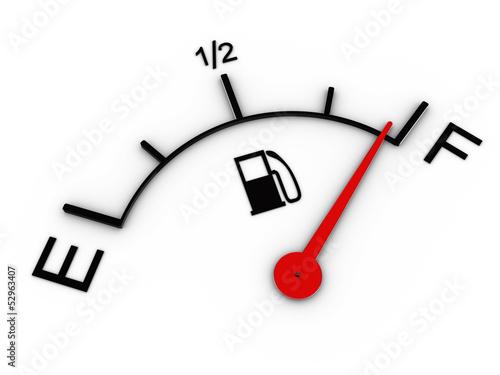 Fotografía  3d image of fuel gauge shows full tank