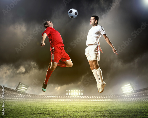 Fotobehang Voetbal Two football player