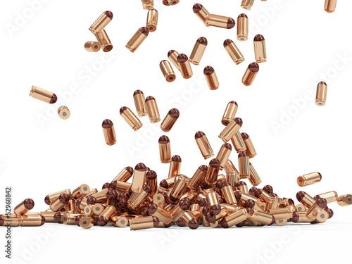 Falling Gun Bullets on white background Fototapeta
