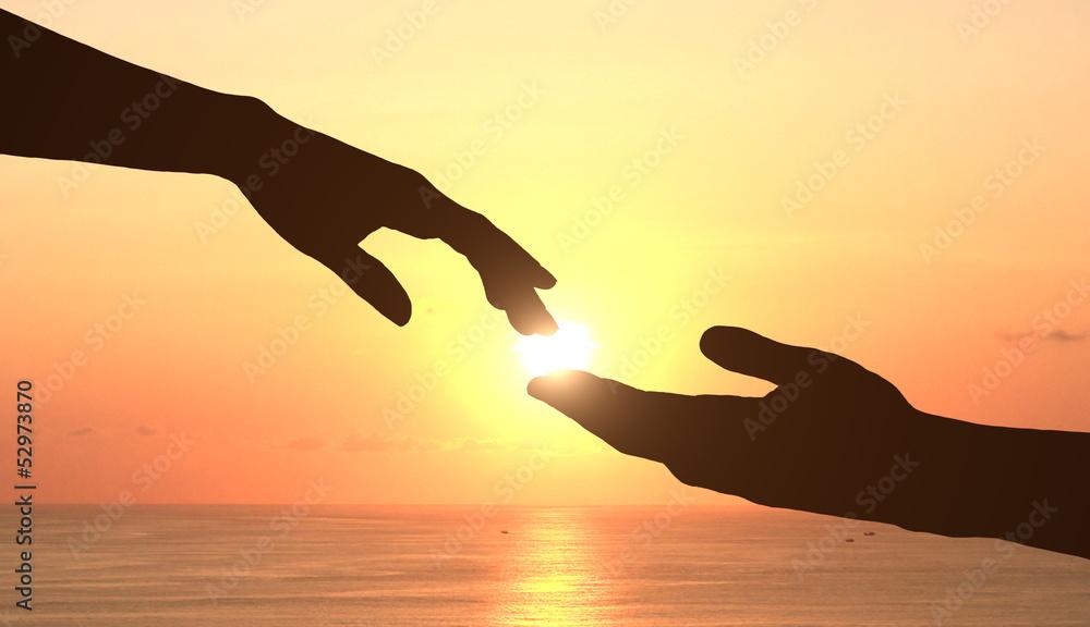 Fototapeta hands and sunset