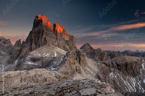 Fotografie, Tablou Last sun rays on the dolomites peak