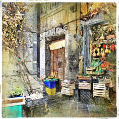 Fototapeta Napoli,Italy - old streets with small shop, artistic picture