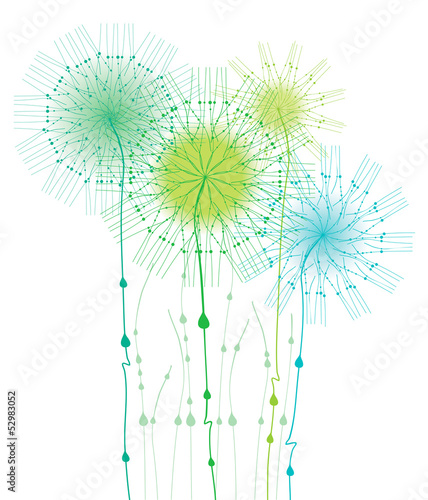 Illustration with delicate flowers in morning dew drops.