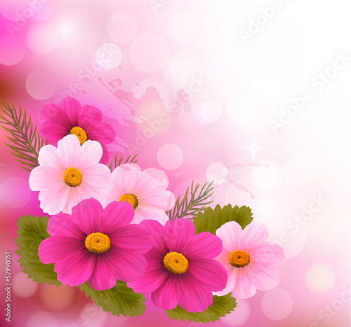 Holiday Background With Three Pink Flowersctor Illustration Buy