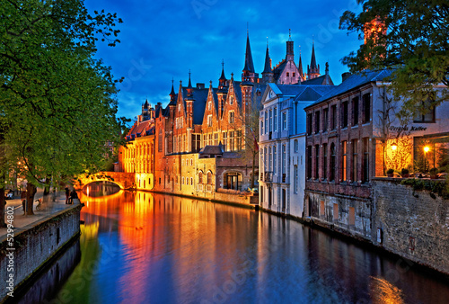 Wall Murals Bridges Brugge at night