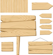 Wooden Sign Board Vector Colle...