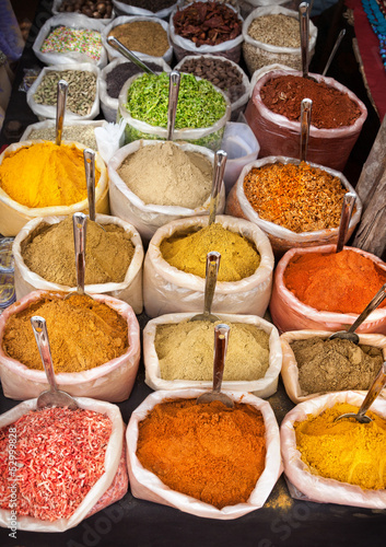 Indian colorful spices Canvas Print