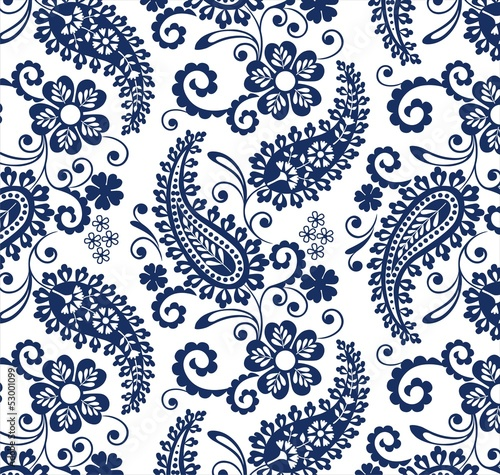 Cotton fabric traditional paisley floral pattern , textile , Rajasthan, India