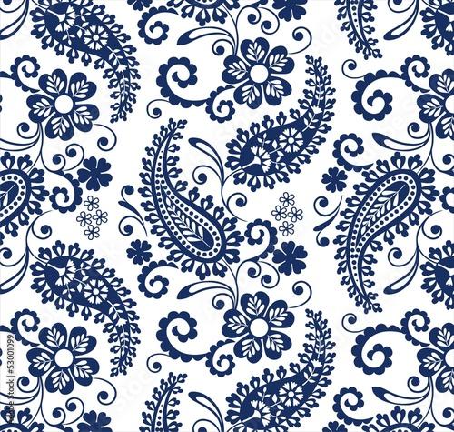 Obraz na plátně traditional paisley floral pattern , textile , Rajasthan, India