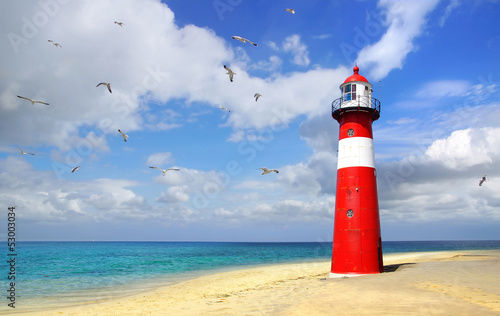 Foto Lighthouse with flying seagulls. Westkapelle