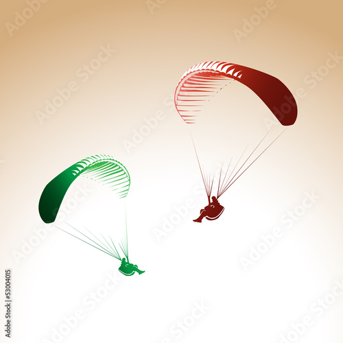 Deurstickers Luchtsport Paragliding theme, parachute controlled by a person