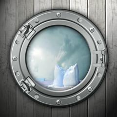 Panel Szklany Bullauge mit Ausblick auf Eisberge