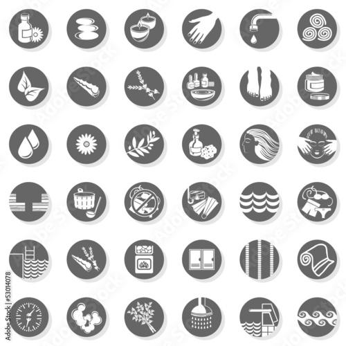 Fotografie, Obraz  spa sauna relaks szare okrągłe ikony zestaw na białym tle