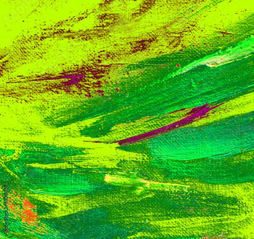 abstract  yellow green painting by oil on canvas