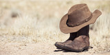brown cowboy hat and boots outdoor - 53015625