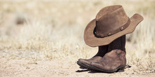 Brown Cowboy Hat And Boots Outdoor