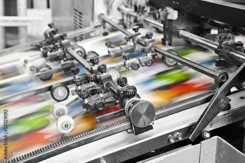 Fotografie, Obraz  Close up of an offset printing machine during production