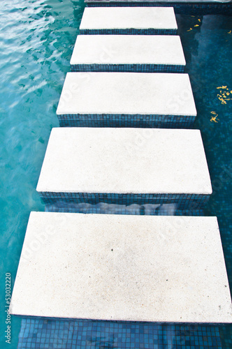 Fotografie, Obraz  stepping stones on Swimming Pool