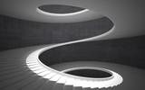 Abstract concrete spiral staircase