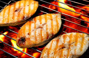 Fototapeta Do steakhouse grilled fish on the grill