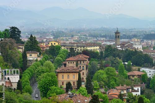 Photo  View to the Bergamo city, Italy