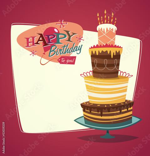 Retro Vintage Happy Birthday Card With Cake Buy This Stock Vector
