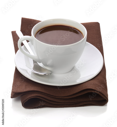 Tuinposter Chocolade Hot chocolate in white cup on brawn table-napkin