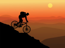 Silhouette Of A Cyclist With S...