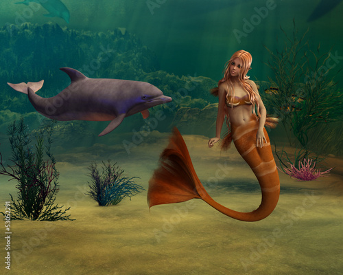 Wall Murals Mermaid Mermaid and Dolphin
