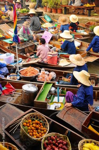 Amphawa Floating market,Thailand Canvas Print