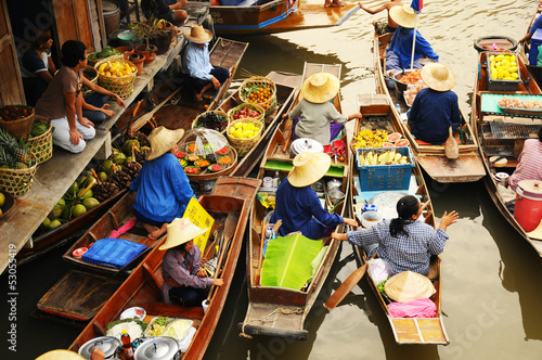 Photo sur Toile Bangkok Amphawa Floating market, Amphawa, Thailand