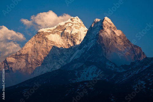 Mountain Ama Dablam (6814 m) at sunset. Himalayas. Nepal Poster