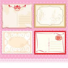 Set Of Postcards In Vintage Design On Polka Dots Pink Background