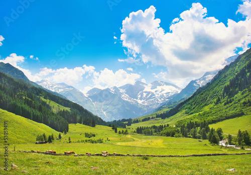 Fotografie, Obraz  Beautiful landscape with Alps, Nationalpark Hohe Tauern, Austria
